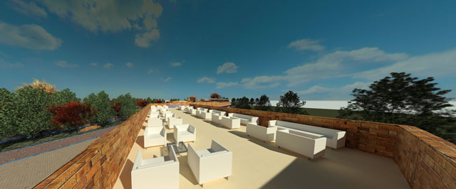 Earth Block Village, Rooftop View Looking East, One Community