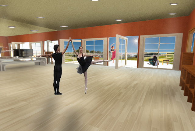 One Community Recycled Materials Village final render, Second-floor dance studio for dance classes, exercise classes, and dance-related social events.