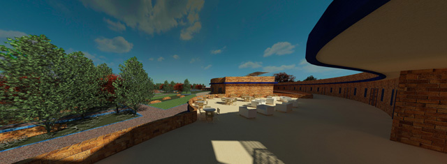 Earth Block Village – One Community Pod 4, Hamilton Mateca, 2nd floor outdoors looking east