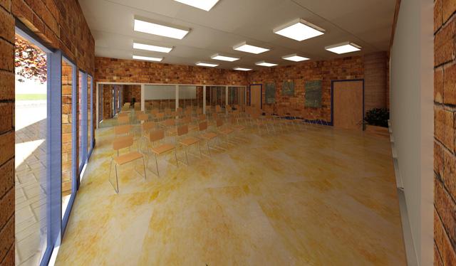 Earth Block Village, Classroom Looking West, One Community, Hamilton Mateca, 640