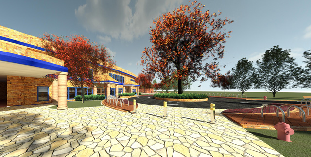 Compressed Earth Block Village Front View Final render, One Community, Dan Alleck