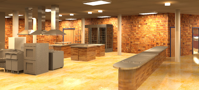 One Community Earth Block Village Kitchen Looking Northeast Final Render, 640