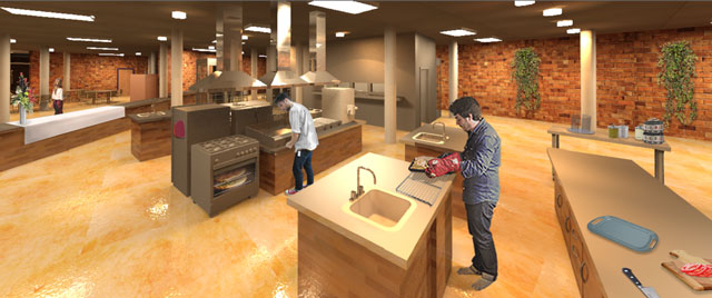 One Community Earth Block Village Kitchen Looking West Final Render with people, Dan Alleck (Designer and Illustrator), blog 238, Dan Alleck (Designer and Illustrator) completed his 2nd week working on the Compressed Earth Block Village render additions. This week he finished adding people and additional aesthetics to the two kitchen renders you see here and live on the site.