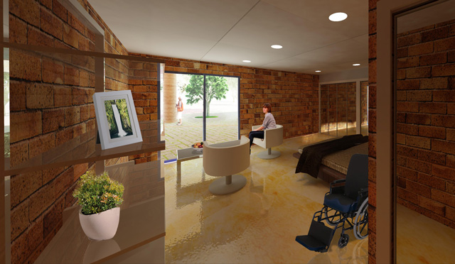 Dan Alleck, Earth Block Village, render of the ADA Handicap-compliant Room looking South, One Community