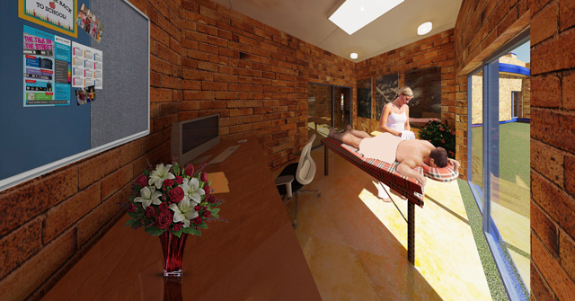 Compressed Earth Block Village Massage Room Looking Northeast with People, Dan Alleck, One Community blog 242
