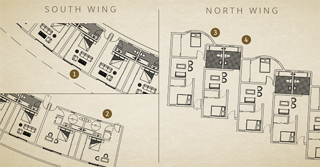 Compressed earth block village room layouts