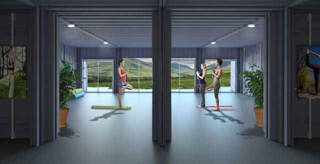Shipping Container Village, floor 1, yoga room final render