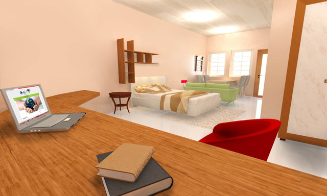 One Community Recycled Materials Village final render, Large Bedroom
