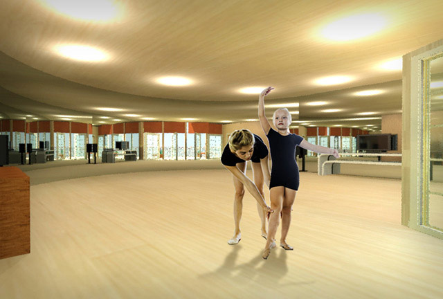 Recycled Materials Village Dance Studio final render, One Community