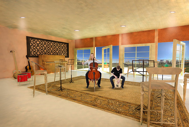 Recycled Materials Village Music Room, final render, One Community