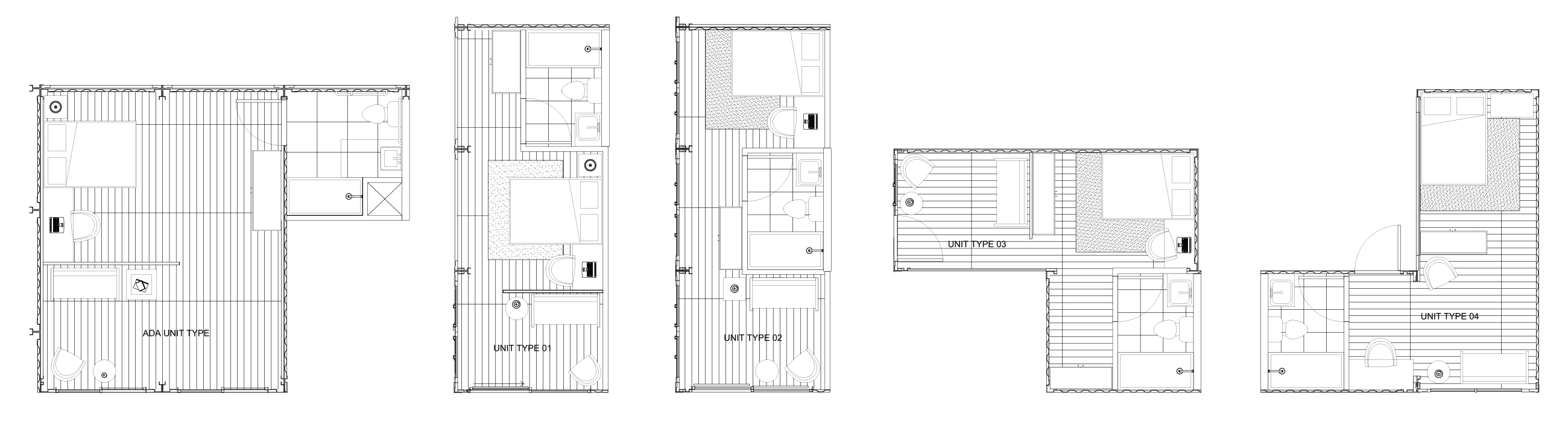 Shipping Container Village Living Space Floor Plans, shipping container structures, shipping container homes, eco-living in shipping containers