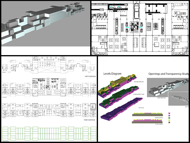 "Samantha and Flávia from the Architecture and Planning Intern Team worked on a third redesign of the layout of the containers for three floors of the Shipping Container Village (Pod 5). The new proposal you see here provides more space for living units, the industrial kitchen, and dining, as well as a better exterior appearance while keeping the desirable ""staggered"" facade with the bathrooms and plumbing aligned at all levels."