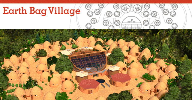 Earthbag Village Overview Image, Pod 1, One Community, earth bag construction, earthbag architecture, building with earthbags, building with earth, earthbag community, earth architecture, green living, earthbag community, earthbag eco-tourism, earth building, earth construction, One Community Pod 1