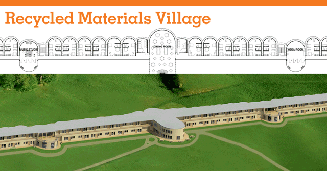 Recycled materials village header, earthship-inspired village, tire construction, recycled building, eco-living