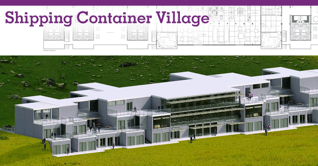 Shipping Container Village Header, shipping container structures, shipping container homes, eco-living in shipping containers