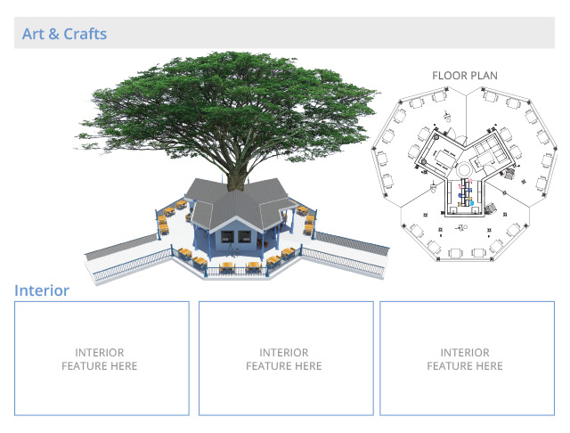 Tree house village Arts and Crafts structures, final render ,One Community