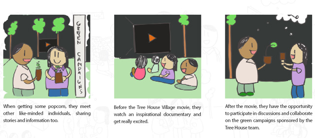 Tree House Village Comic of Movie Screening, Movie Screenings at the Tree House Village 2
