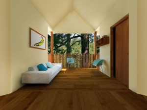 View of the Interior of a Tree House Village Home