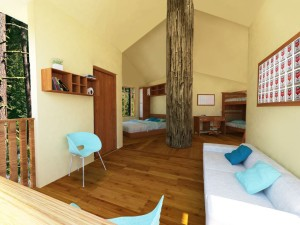 Inside the Tree House Village Living Space