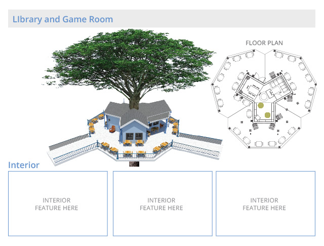 Tree house village Library and Game Room Structures, One Communiy