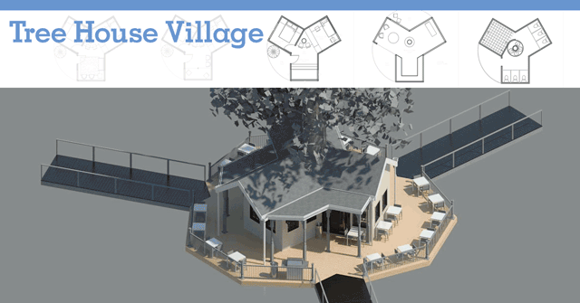 tree house village header, tree house village, treehouse, open source tree living, living in trees, forest living