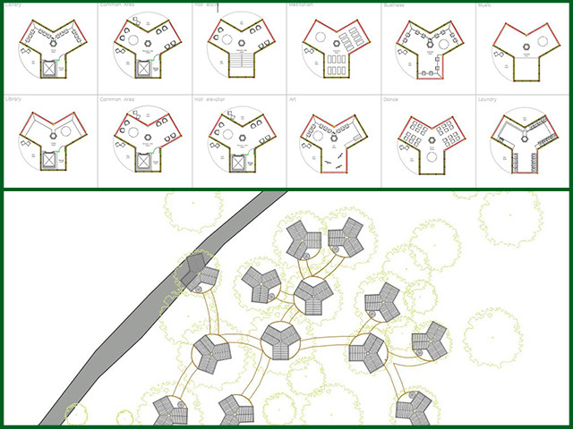 And Thais from the Architecture and Planning Intern Team brought the site plan and layout of houses, hostels, and entertainment areas for the Tree House Village to 100% completion: