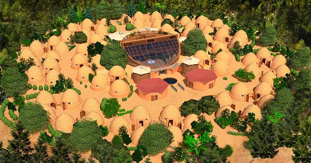 Earthbag Village render update with the updated central ring layout and the new toilet and shower dome roof designs, One Community