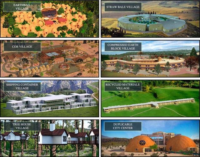 7 One Community Villages and Duplicable City Center Overview, earthbag village, straw bale village, cob village, compressed earth block village, shipping container village, recycled materials village, tree house village, green living, sustainable living, One Community Global, One Community, sustainable communities, eco-tourism, eco-communities, regenerative communities, Highest Good housing, Highest Good food, Highest Good economics, Highest Good of All, permaculture
