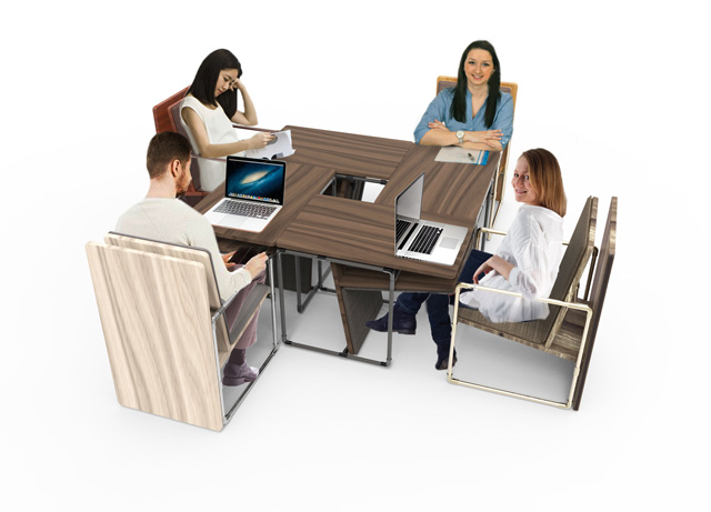 Group-Working-at-Pipe-Chair-Table, pipe furniture