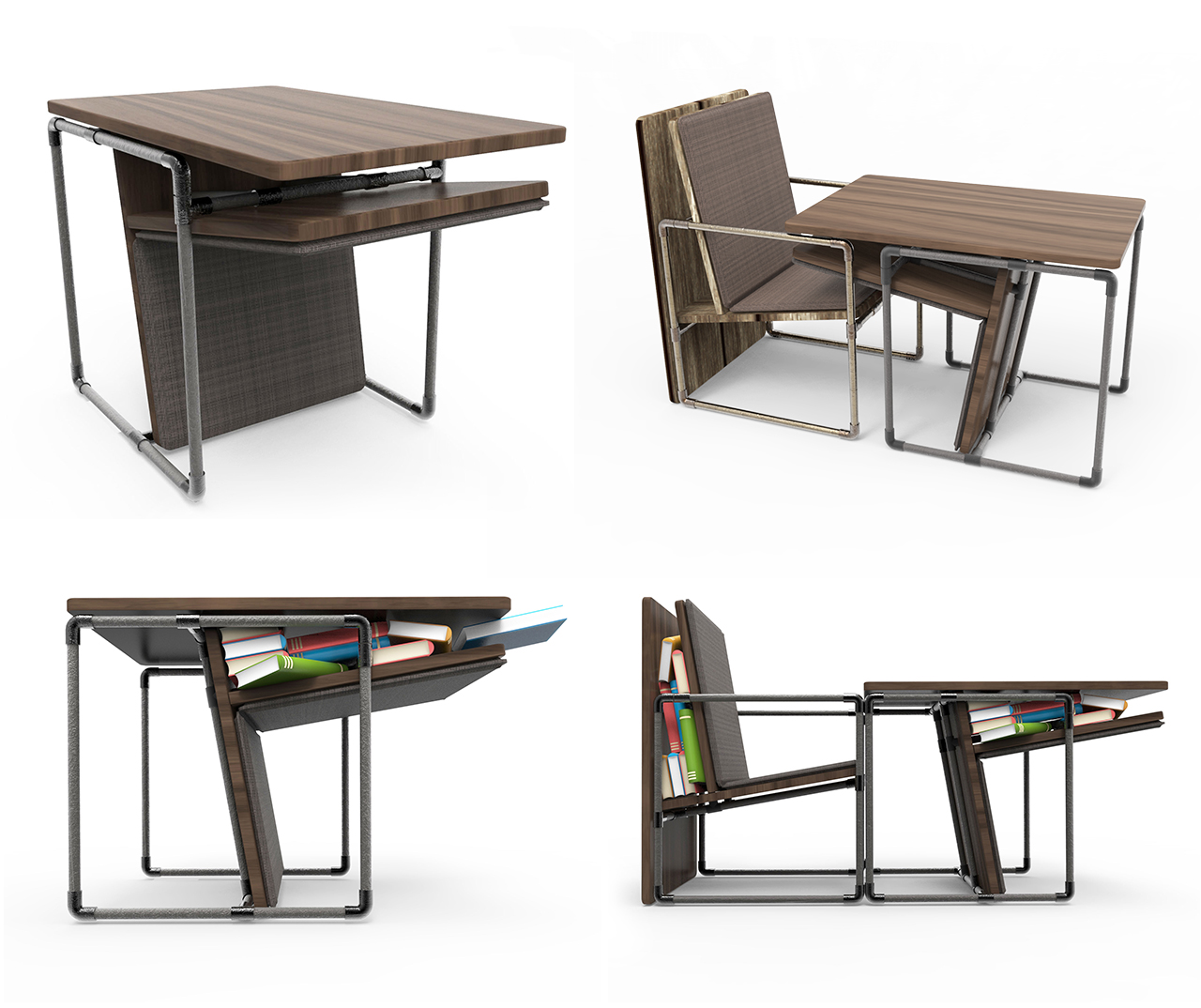 Single-Table-Collage, pipe furniture