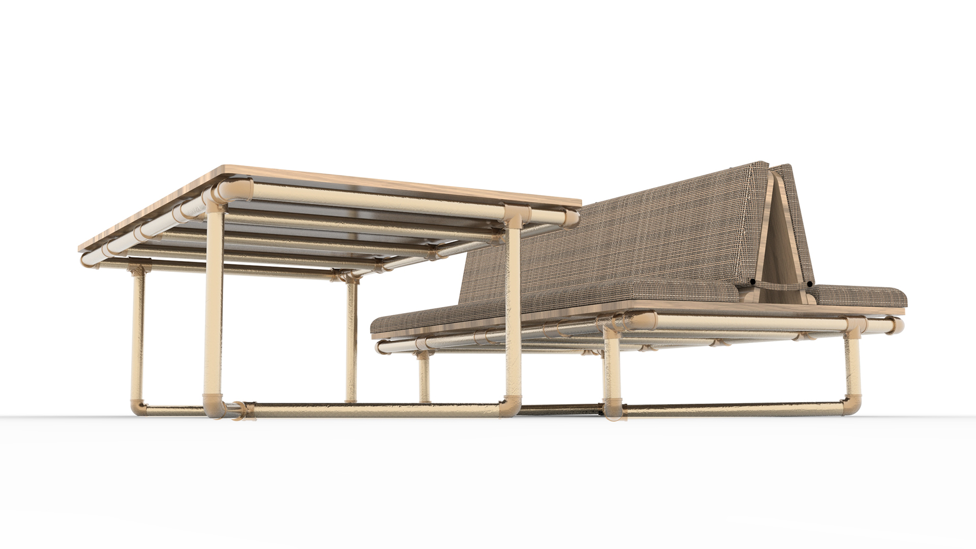 pipe couch header, pipe furniture