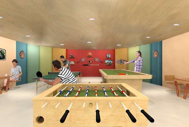Game Room Final Render Recycled Materials Village, One Community