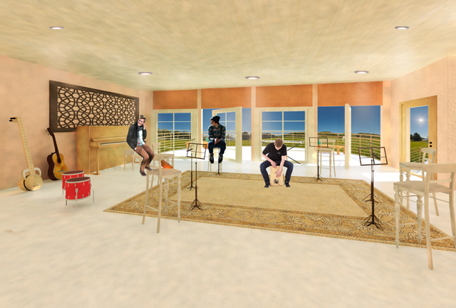 Music room Final Render Recycled Materials Village, One Community