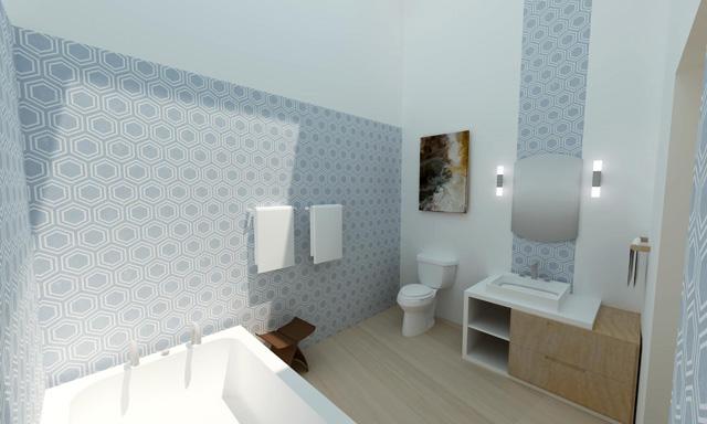 Brianna Johnson Final Render Straw Bale Village Apartment Bathroom, One Community