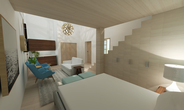 Brianna Johnson Final Render Straw Bale Village Apartment Bedroom, One Community