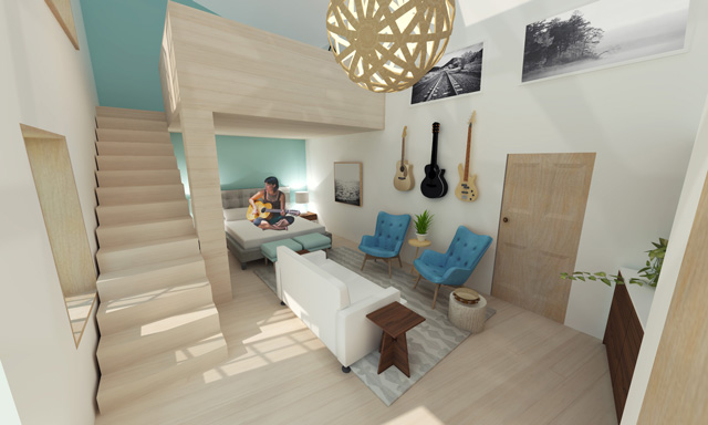Brianna Johnson Final Render Straw Bale Village Apartment Living Room, One Community