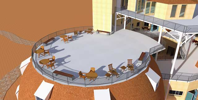 This week the core team created a new outside render of the City Center sundeck.