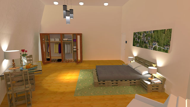 Duplicable City Center Bedroom, City Center Rental Room, sustainable living, green living, ecological living, eco-architecture, open source dome, One Community Global, Buckminster Fuller, geodesic dome, DIY dome, dome home, Highest Good housing