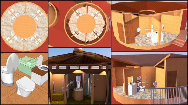 In addition to this, the core team continued working on the renders for the Communal Eco-shower Structures that are part of the Earthbag Village (Pod 1). This week we updated the texture of the floor, adjusted the lighting, and added internal walls and appliances.