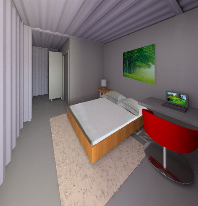 Shipping Container Village One Community Open Source  : FLOOR 1 Business Bedroom Looking In Shipping Container Village Final Render blog174 640 high res from www.onecommunityglobal.org size 640 x 666 jpeg 54kB