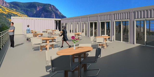 Also, Guy Grossfeld (Graphic Designer) completed one last render we requested for the Shipping Container Village (Pod 5) upper dining area: