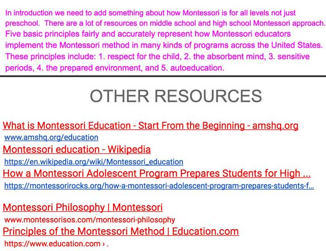 Additionally, the core team started researching to expand our Montessori page. Here you can see some of this behind-the-scenes work and the associated resources.