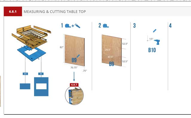 Murphy Bed instructions blog 239, The core team also continued working on the Murphy bed instructions. Here is one of the new instructional-page examples.