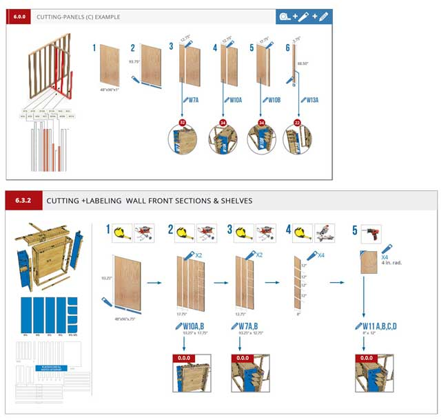 And the core team continued working on the Murphy bed instructions, working on page 6.3.2 (wall frame panels) assembly page to match the other pages, as shown here.