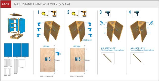 And the core team continued working on the Murphy bed instructions, revising the nightstand assembly page to match the format of the other pages, as shown here.