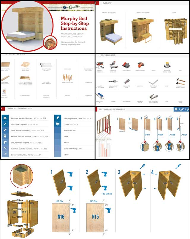The core team continued creating the Open Source Murphy bed furniture step-by-step instructions. As shown here, we revised the layouts, added new pages, new icons, and new photos.