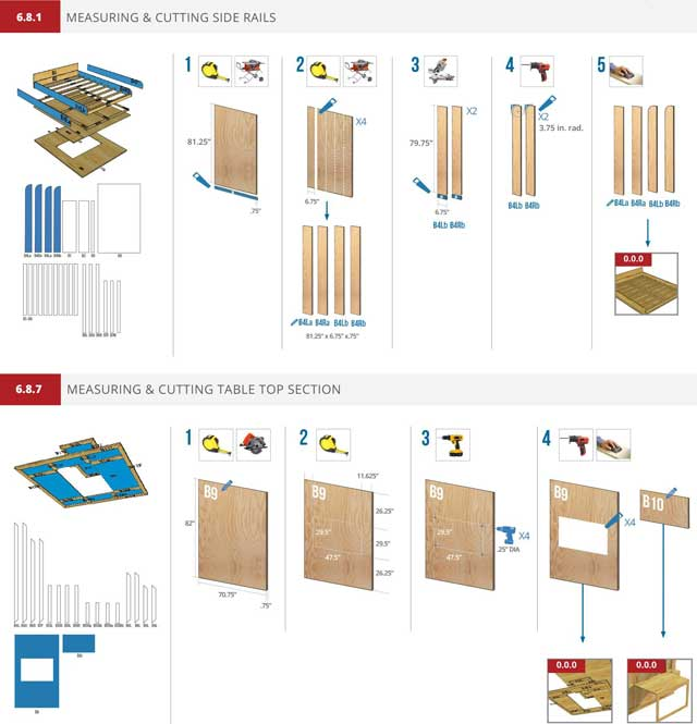 In addition, the core team continued working on the Murphy bed instructions, continuing to test different layouts. Shown here are the latest layouts with this week's revisions.