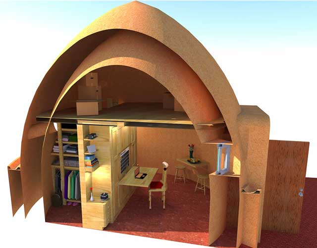In addition to this, and working on the Earthbag Village, we updated this cutaway view of the Murphy bed inside one of the dome with added storage boxes in the loft, updating the desk chair, and adjusting the section cut view: