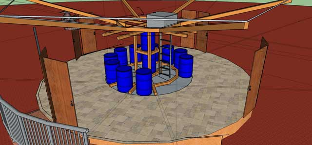 Also our core team continued building the Sketchup 3D version of theNet-zero bathroom for theEarthbag Village. This last week we added in barrels, the central platform, roof hatch entrance, and the ladder.