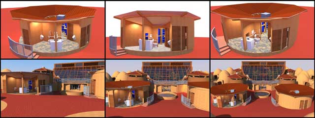 One Community Net Zero Bathroom blog 224, Thecore teamcontinued building the Sketchup 3D version of theNet-zerobathroom for theEarthbag Village. This last week weupdated the perspectives and added last-needed details for the final rendering and rendered images with the Earthbag Village in the background.